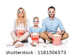 happy family with popcorn... | Shutterstock . vector #1181506573