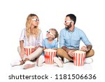 family with popcorn and 3d... | Shutterstock . vector #1181506636