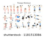 arm triceps workout for men and ... | Shutterstock .eps vector #1181513086