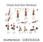 arm and chest workout for men... | Shutterstock .eps vector #1181513116