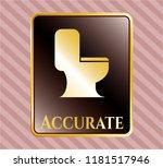 golden badge with wc toilet... | Shutterstock .eps vector #1181517946