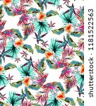 vintage neon tropical pattern... | Shutterstock .eps vector #1181522563