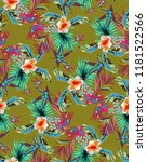 vintage neon tropical pattern... | Shutterstock .eps vector #1181522566