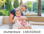 happy mom and baby photography... | Shutterstock . vector #1181523610