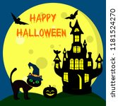the halloween cat in the witch... | Shutterstock . vector #1181524270