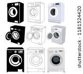 set of washing machine   Shutterstock .eps vector #1181524420