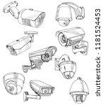 set of sketch camera  cctv | Shutterstock .eps vector #1181524453