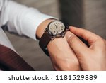 a stylish mechanical watch on... | Shutterstock . vector #1181529889