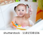 baby girl playing and washing... | Shutterstock . vector #1181538106