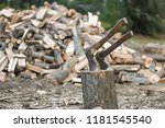 preparation of firewood in the... | Shutterstock . vector #1181545540