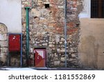 remains of medieval wall with... | Shutterstock . vector #1181552869