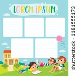 template. pupils on outdoor... | Shutterstock .eps vector #1181555173