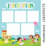 template. pupils on outdoor... | Shutterstock .eps vector #1181555173
