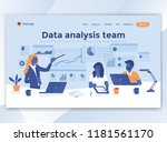 landing page template of data... | Shutterstock .eps vector #1181561170