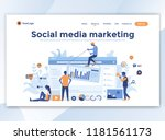 landing page template of social ... | Shutterstock .eps vector #1181561173