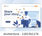 landing page template of share... | Shutterstock .eps vector #1181561176