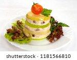Stock photo slices of herring herring paste forshmak 1181566810