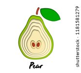 vector paper cut green pear... | Shutterstock .eps vector #1181581279