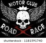 motor club skull tee | Shutterstock .eps vector #1181591740