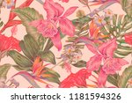 floral seamless vector tropical ... | Shutterstock .eps vector #1181594326