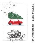christmas card. a red car is... | Shutterstock .eps vector #1181596663