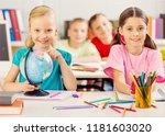 school children in the... | Shutterstock . vector #1181603020
