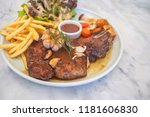 t bone steak with fresh... | Shutterstock . vector #1181606830