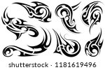 tribal art tattoo set with... | Shutterstock .eps vector #1181619496