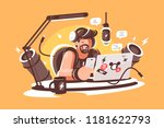 radio  presenter broadcasting... | Shutterstock .eps vector #1181622793