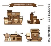 coffee objects and equipment.... | Shutterstock .eps vector #1181623093