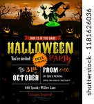 halloween party invitation with ... | Shutterstock .eps vector #1181626036