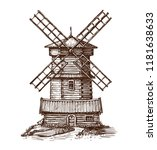 windmill  wooden old mill... | Shutterstock .eps vector #1181638633