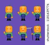 pumpkin character in various... | Shutterstock .eps vector #1181639776