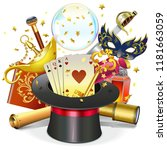 vector magic concept with hat... | Shutterstock .eps vector #1181663059