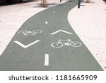 bicycle path in lisbon  ... | Shutterstock . vector #1181665909