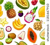 exotic fruit vector seamless... | Shutterstock .eps vector #1181667910