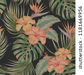 floral tropical vector seamless ... | Shutterstock .eps vector #1181669956
