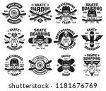 skateboarding set of twelve... | Shutterstock .eps vector #1181676769