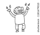 line drawing cartoon happy robot | Shutterstock . vector #1181679010