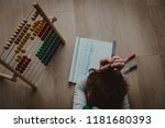 little boy tired stressed of... | Shutterstock . vector #1181680393