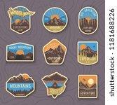 set of nine mountain travel... | Shutterstock .eps vector #1181688226