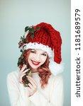 santas little helper. beautiful ...   Shutterstock . vector #1181689579