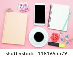 notebook mobile phone and black ... | Shutterstock . vector #1181695579
