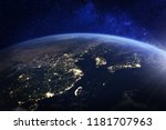 asia at night from space with... | Shutterstock . vector #1181707963