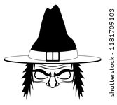 isolated halloween witch...   Shutterstock .eps vector #1181709103