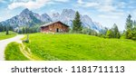 idyllic landscape in the alps... | Shutterstock . vector #1181711113