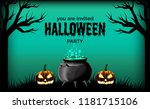 halloween party with potion in... | Shutterstock .eps vector #1181715106