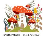 mushroom house in garden... | Shutterstock .eps vector #1181720269