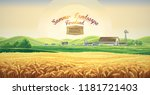 summer rural landscape with... | Shutterstock .eps vector #1181721403