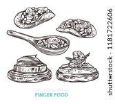 finger food. vector sketch hand ... | Shutterstock .eps vector #1181722606